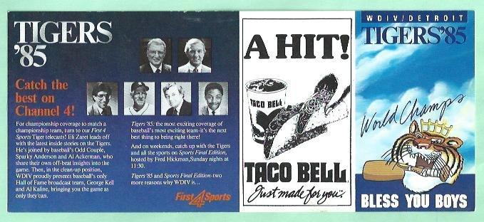 1985 Detroit Tigers WDIV Taco Bell Pocket Schedule Al Kaline George Kell Unfolded