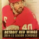 2014 / 15 Detroit Red Wings Pocket Schedule Henrik Zetteberg