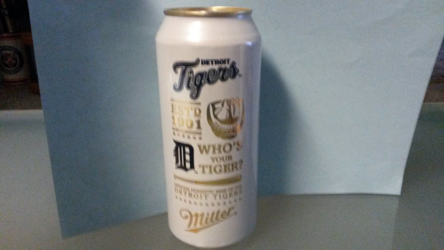 """2015 Miller Lite 16 oz. Detroit Tigers Beer Can """" Who's Your Tiger? """""""
