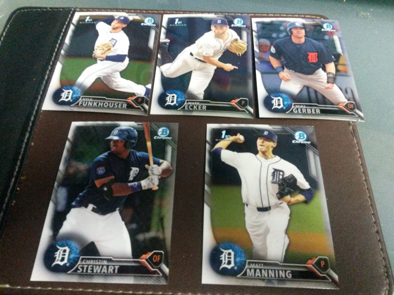 2016 Bowman Chrome Draft Detroit Tigers Team Set Manning Funkhouser Stewart Rookies