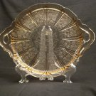 Jeannette Depression Glass Pink Cherry Blossom Handled Sandwich Tray