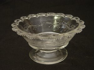 EAPG Glass 1885 Barley (Sprig) 4 Inch Footed Sauce Dish