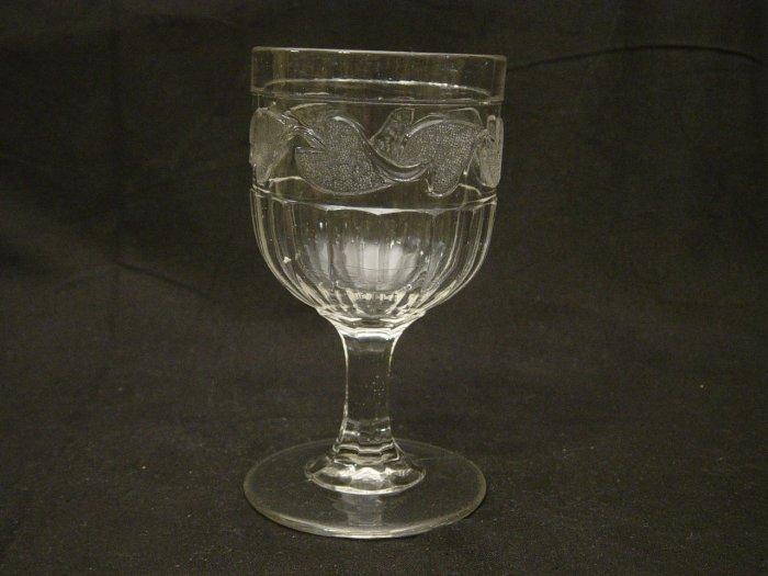 EAPG Glass 1870's Stippled Leaf Goblet