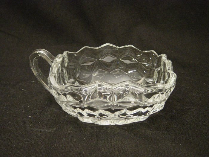 Fostoria American Pattern Crystal Square Handled Bowl / Nappy