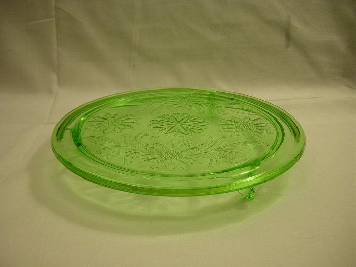 Jeannette Depression Glass Green Sunflower Cake Plate
