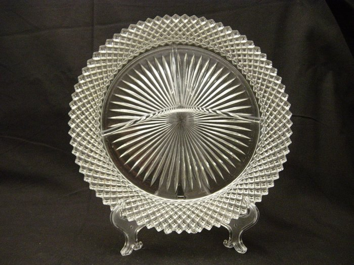 Hocking Depression Glass Miss America Crystal Grill Plate