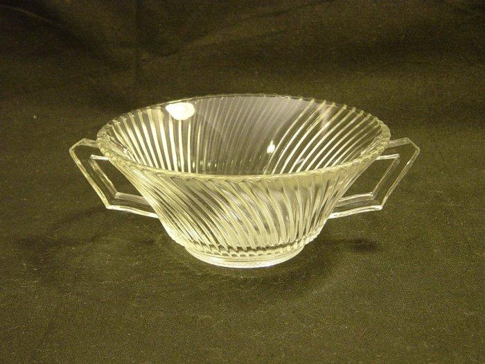 Federal Glass Depression Crystal Diana Cream Soup Handled Bowl