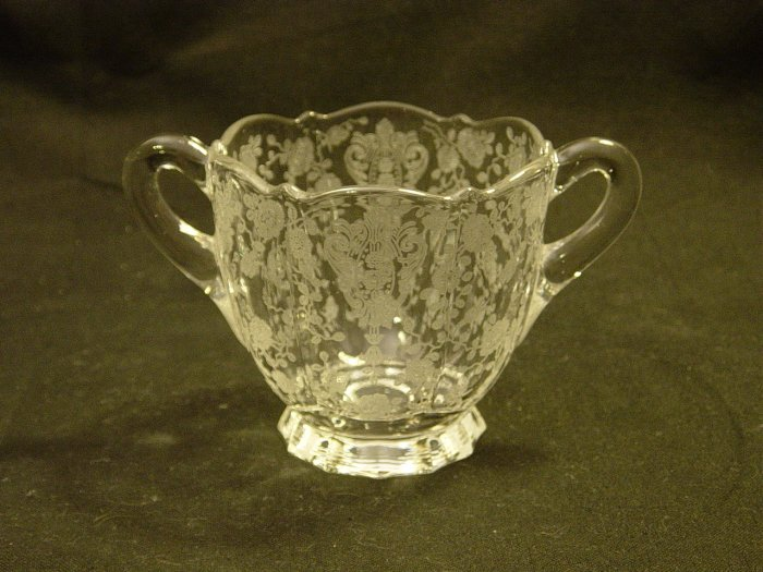 Cambridge Glass Crystal Rose Point 3900/41 Open Sugar