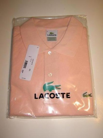 NWT Authentic Lacoste Pique Polo - Sz. 7 (XLrg) Light Pink