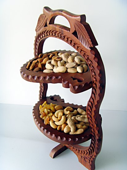 Two Tier Wooden Handcrafted Folding / Collapsible Dry Fruit Basket