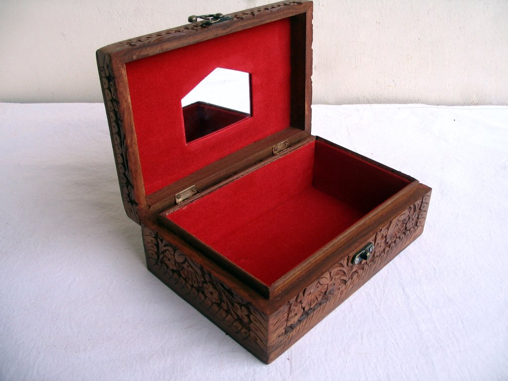 Vintage Wooden handcrafted Carved Jewelry Box Rosewood