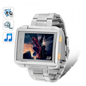 MP4 Player Watch; 4GB Waterproof, Steel Edition