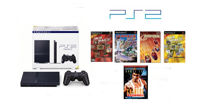 """Slim Sony Playstation 2 """"Holiday Pack"""" - 4 Games and DVD Movie"""