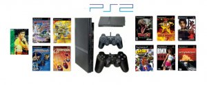 """Slim Sony Playstation 2 """"Gamers Paradise Bundle"""" - 10 Games, DVD Movie + 2 Controllers"""