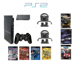"""New Slim Sony Playstation 2 """"Friends Racing Bundle"""" - 7 Awesome Games With 2 Grand Racing Wheels"""