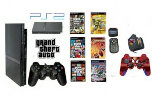 """New Slim Sony Playstation 2 """"Ultimate Grand Theft Auto Bundle"""" - 6 Games, 2 Dual Shock Controllers &"""