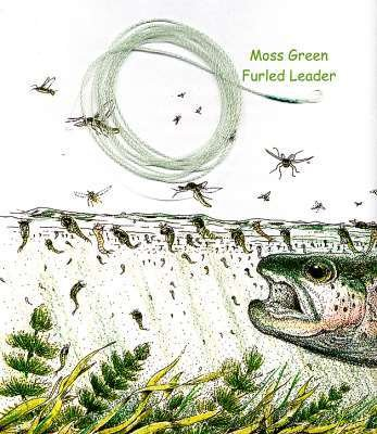 Furled 8 Lb Moss Green Fly Fishing Leader 0-5 wt+ Ring