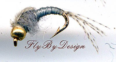 Bead WD40 Gray Nymph - Twelve Size 18 Fly Fishing Flies