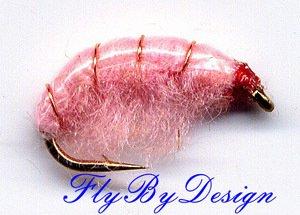 Pink Scud Fly Fishing Nymphs Twelve Flies, Hook Size 16