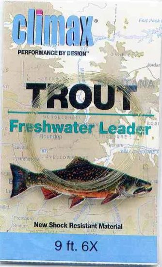 Climax 9 ft 6x Trout Freshwater Fly Fishing Leader