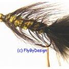 BH Olive/Black Woolly Bugger Flies -Twelve Hook Size 8