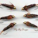 Bead Head Halfback Nymph - Twelve Size 8 Fishing Flies
