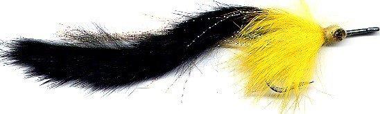 Black & Yellow Pikie Fly - Six # 4/0 Pike Fishing Flies