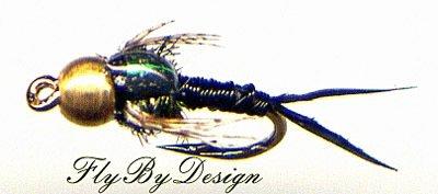 Black Copper John Nymphs 12 Fly Fishing Flies - Size 18