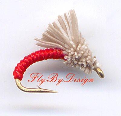 Red Serendipity Nymph Fishing Flies - Twelve Size 14