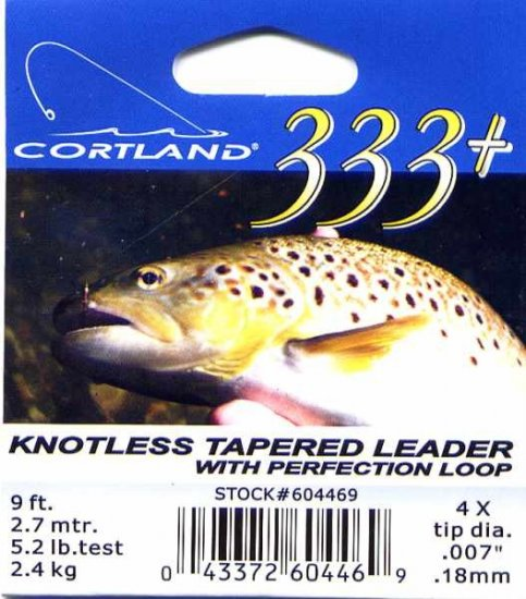 Cortland 9'-4x (5.2 Lb test) 333+ Tapered Leader w/Loop