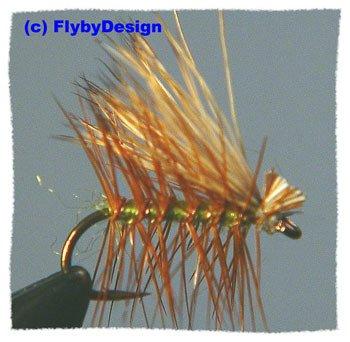 Olive Elk Hair Caddis Dry Fly Twelve Size 12 Fish Flies