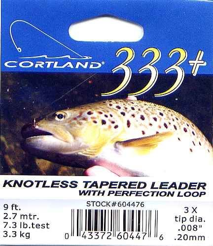 Cortland 9'-3x (7.3 Lb test) 333+ Tapered Leader w/Loop