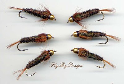 Bead Head Halfback Nymph - Twelve Size 10 Fishing Flies