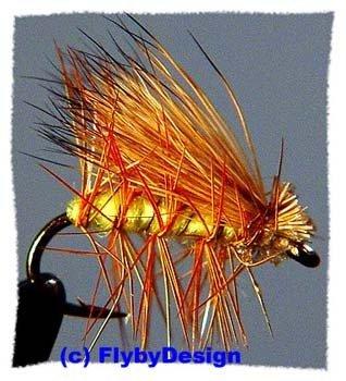 Yellow Elk Hair Caddis Dry Fly - Twelve Size 14 Flies