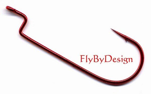 Eagle Claw LazerSharp Red Fishhooks Worm Round Bend 2/0