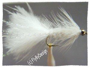 White Bead Crystal Woolly Bugger Flies - Twelve Size 6