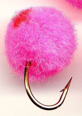 GloBug Round PINK Egg Fly Twelve Size 10 Fishing Flies