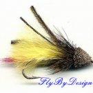 Yellow Marabou Muddler Minnow  Fly- Twelve Size 8 Flies