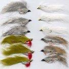 White Zonker - Twelve Hook Size 8 Fly Fishing Flies