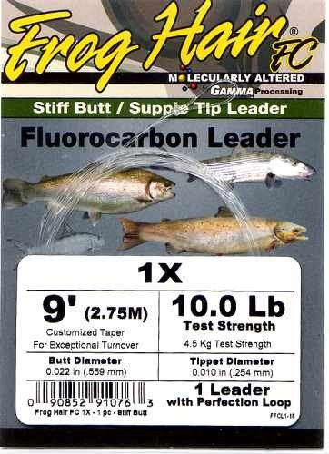 Frog Hair 1x (10 Lb)  9' Fluorocarbon Tapered Leader