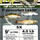 Frog Hair 5x (4 Lb test) 9' Fluorocarbon Tapered Leader