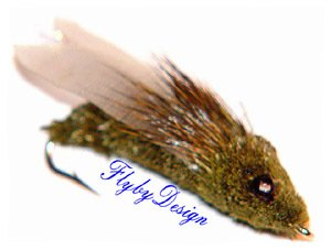 Olive CICADA - Six Fly Fishing Flies  -  Hook Size 6