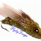 Olive CICADA - Six Fly Fishing Flies  -  Hook Size 8
