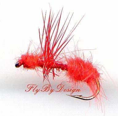 Orange Fur Ant - Twelve Fly Fishing Flies Hook Size #14