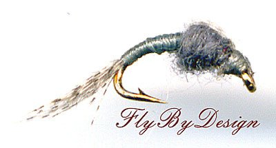 WD40 Gray Nymph - Twelve Hook Size 20 Fly Fishing Flies