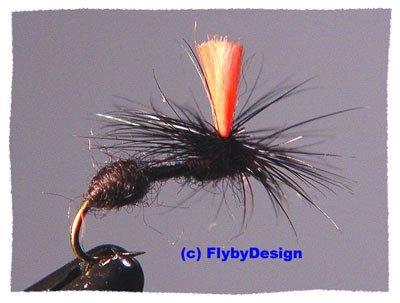 Black HiVis Parachute Ant Twelve Fly Fishing Flies  #10