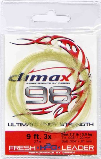 Climax Freshwater Fly Fishing Leader 9Ft 3x (3 Pack)