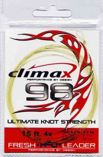 Climax 98 Fly Fishing Leader 15 ft - 4x - 6.3 Lb Test