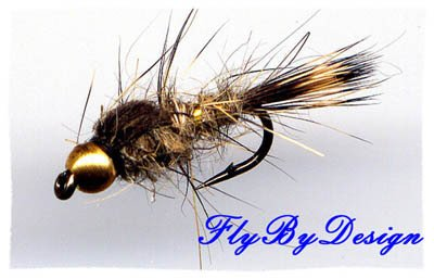 Bead Gold Ribbed Hares Ear Nymph Size 20 Fishing Flies
