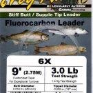 Frog Hair 6x (3 Lb test) 9' Fluorocarbon Tapered Leader